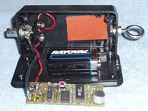 SquawkBox board in plastic box with battery